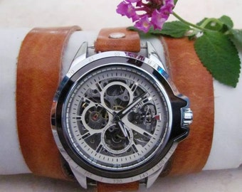 Automatic Skeleton Watch - Walnut Brown Leather Wrist Watch Free Shipping
