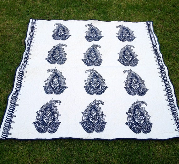 Wholecloth Modern Quilt in Blue and White Large Lap size