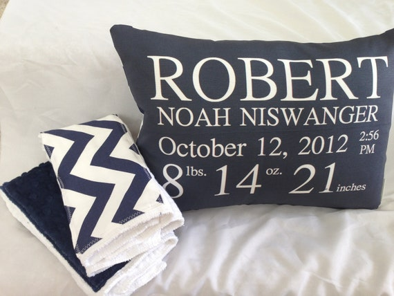 New Baby Gift Set personalized birth announcement pillow and – Personalized Baby Announcement Gifts
