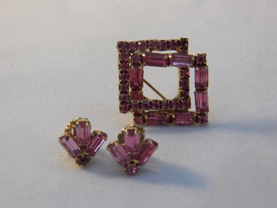 RESERVED - Vintage Bright Pink Rhinestone Brooch and Earring Set -40's Glamorous Pin Clip Earring- Retro Jewelry -