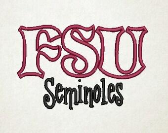 FSU Applique, Florida State Applique Embroidery Design (8) Instant Download