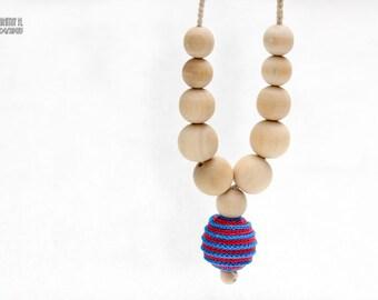 Nursing necklace - Neon spiral fuchsia and neon blue.  Summer gifts under 15