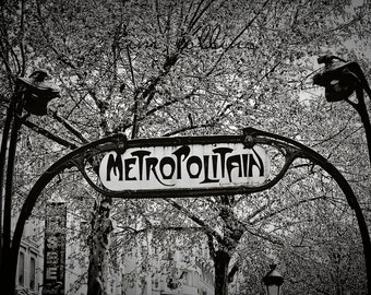 Parisian Metro Sign Black and White-Paris,France,multiple sizes available,Architecture,Travel,Black&White,Entrances,Subway,Hector Guimard