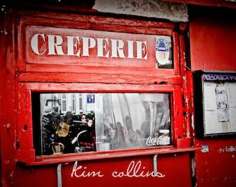 Parisian Creperie-Fine Art Photography,Paris,France,multiple sizes available,Travel,Parisian,Montmartre,Creperie,Red,Storefront