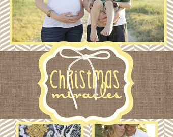 Custom Yellow and Brown Photo Christmas Cards