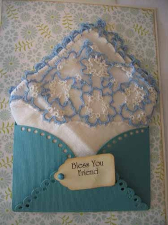 Vintage Tatted Handkerchief Blue White Friend Birthday Thinking Of You Appreciation Hanky Greeting Card