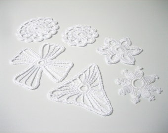 6 white crochet snowflake ornaments. Crochet Christmas decoration. Baptism decoration. Lace snowflake ornament set 6. Scrapbooking applique