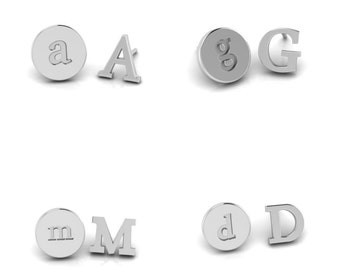 Unique Personalized  Initial Studs, Simple and Modern Style Monogram Sterling Silver Earrings, handmade Bridesmaid Gift,