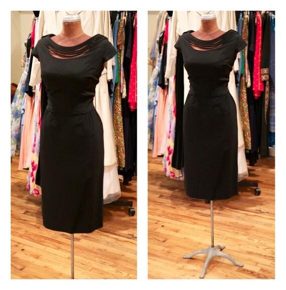 1950s 1960s Black Wiggle Dress Fitted Dress Cocktail Dress Evening Dress