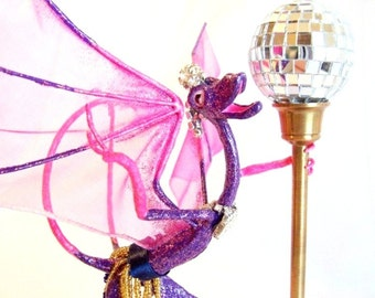 Rhinestone the Pole Dancing Disco Dragon: Devils Claw Dragon Art Doll