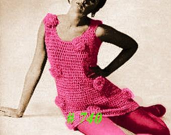 A BEST Vintage Lace Flower Tunic Sweater Dress 740 PDF Digital Crochet Pattern