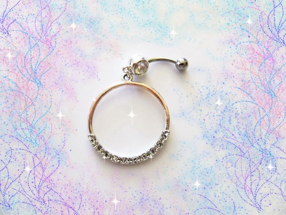 HUGE SALE--Belly Ring,Md Eternity Circle Silver and Rose Gold Color Crystal Dangling Belly Button Navel Ring, for Her