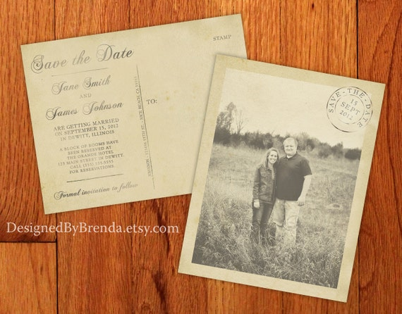 Vintage Save the Date Postcards with Postmark - Printed on 100 lb. Recycled Matte Card Stock - Free Shipping - Rustic Looking Photo Card