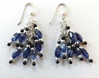 Iolite Cluster Earrings Black Onyx & Sterling Silver, Genuine Gemstone, Midnight Blue, Handcrafted