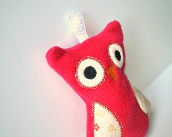 Stuffed Owl Toy - Baby Owl Toy - Red Owl Rattle - Cute Owl Stuff
