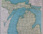 Vintage MICHIGAN MAP 1940s State Map Wartime 1947 Atlas UNUSUAL Color  Plaindealing 2728
