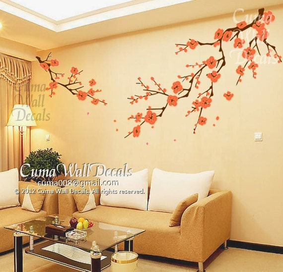 Cherry blossom wall decals orange flower vinyl mural by cuma for Cherry blossom tree mural