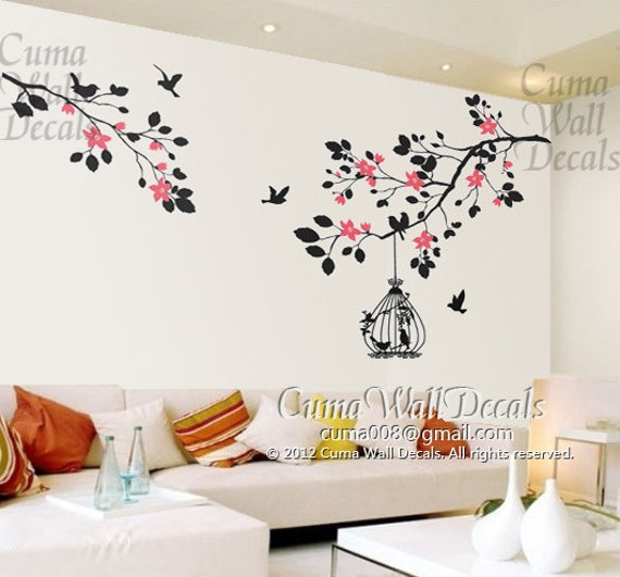 Cherry Blossom Wall Decal branch wall decals vinyl tree wall decal sticker birds by cuma