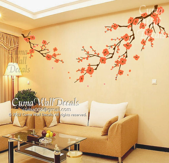 Cherry blossom wall decals orange flower vinyl mural by cuma for Cherry blossom mural on walls
