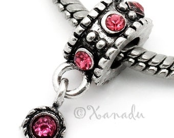 Hot Pink European Charm Bead - October Birthday Birthstone Rose Zicron Charm For All European Charm Bracelet And Necklace Chains