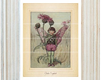 Fairy Flower Book Print Girl Bedroom Antique Victorian Watercolor Fantasy Wall Art Child Baby Nursery Garden Old Greater Knapweed bf 324