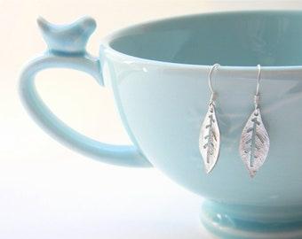 Silver Earrings - Matte Silver Dangle Earrings - Matte Silver Leaf Dangly Earrings