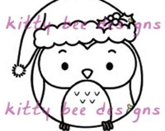 "Kawaii ""Santa"" Owl Digi Stamp"