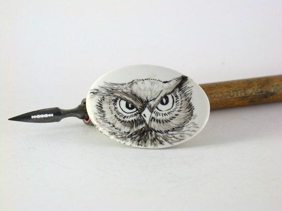 OOAK black owl handpainted on porcelain brooch halloween mood