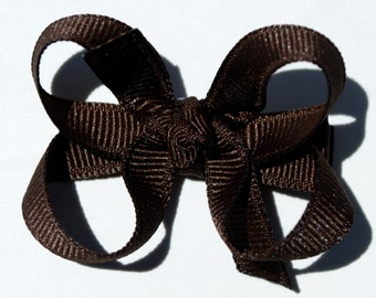 Chocolate Brown Boutique Bow - Small - 2.5 inch - Girl Infant Toddler Chocolate