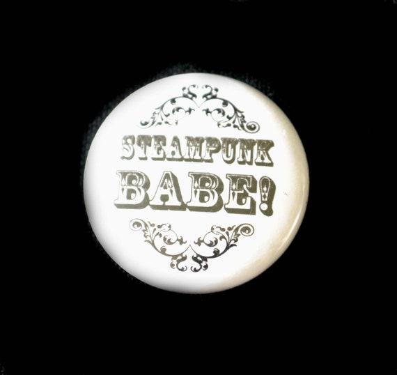 Steampunk Button Badge  STEAMPUNK BABE (25mm) Kraken Pirate Babe Tea Gent
