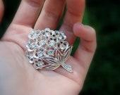 Sarah Cov(entry) Signed Rhinestone Brooch Flower Bouquet Silver Beautiful Gift. Holiday. Wedding. Birthday