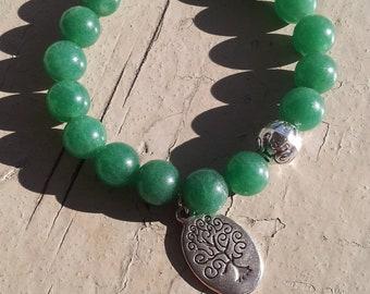 Green Aventurine Tree of Life Beaded Bracelet