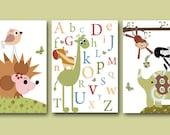 """Baby Boy Room Decor Alphanet Nursery Wall Art Baby Boy Nursery Print Kids Wall Art Baby Nursery Decor Set of 3 8""""x10"""" Prints Elephant Monkey"""