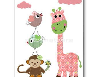 Giraffe Nursery Art Print Baby Girl Nursery Decor Monkey Nursery Print Kids Art Children Wall Art Giraffe Birds Print Rose Pink Green
