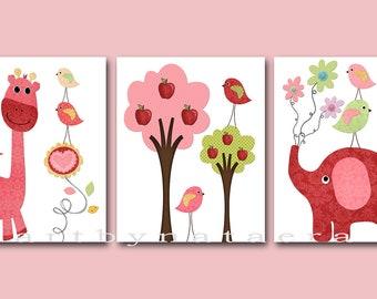 Baby Girl Room Decor Baby Girl Nursery Print Baby Nursery Decor Kids Prints Baby Girl Decor set of 3 Birds Giraffe Elephant Rose Red