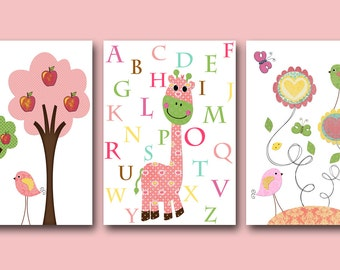 Art for Kids Room Kids Wall Art Baby Girl Nursery Baby Girl Room Decor Baby Nursery Art Print set of 3 Print Giraffe Alphabet Rose Pink