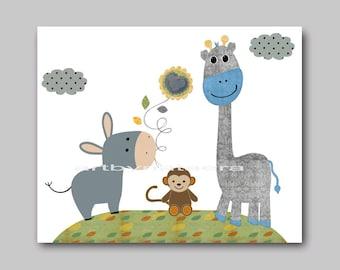 Nursery art decor Children decor Baby Boy nursery wall art baby nursery kids art print giraffe monkey blue gray green