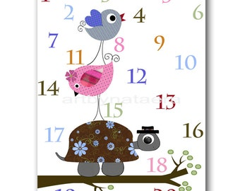 Nursery Art Print Baby Nursery Decor Boy Kids Art Boy Nursery Print Baby Wall Art Nursery Numbers Nursery Turtle Birds Blue Pink