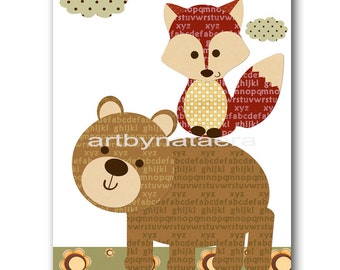 Nursery wall art Kids Wall Art baby boy nursery wall decor Baby nursery wall child decor kids art print kids print boy print bear fox