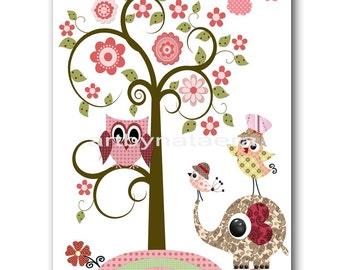 Nursery art prints nursery decor children art print Children Decor kids room decor children print tree owl bird elephant rose pink