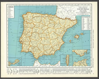 Vintage Map Spain From 1937 Original