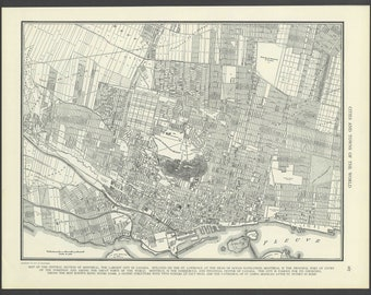 Vintage Street Map of Montreal, Quebec Canada From 1937 Original