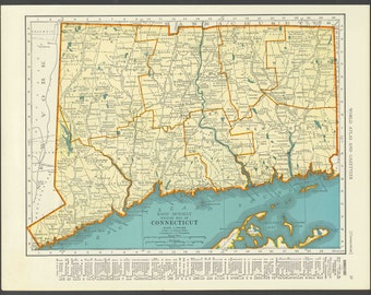 Vintage Map of Connecticut From 1937 Original