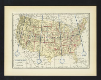 Vintage Map Time Zone map United States Original 1938