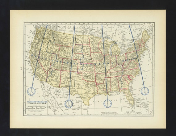 Vintage Map Time Zone map United States