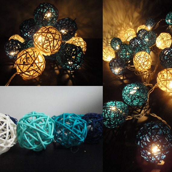20 Mixed Sky Rattan Tone Handmade Rattan Balls Fairy String Lights Party Patio Wedding Floor Table or Hanging Gift Home Decoration