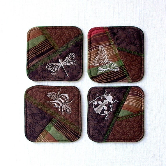 Set of 4 Crazy Quilt Coasters Embroidered with Garden Pollinators, Bumblebee, Ladybug, Butterfly, Dragonfly in Brown and Green