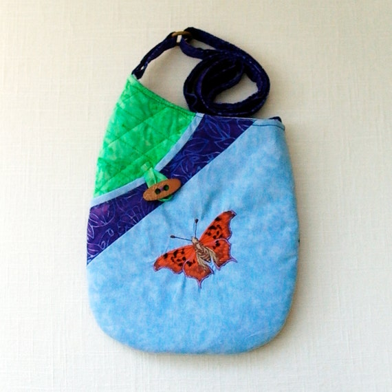 Small Quilted Shoulder Bag Purse with Question Mark Butterfly Embroidery in Sky Blue, Green and Purple