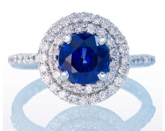 18 Karat White Gold Sapphire Ring with Double Diamond Halo Accents Something Blue Wedding Gift