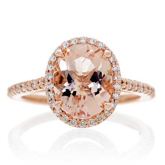 14 Karat Rose Gold Oval Cut 10x8 Morganite Diamond Halo Stacking Gemstone Engagement  Ring